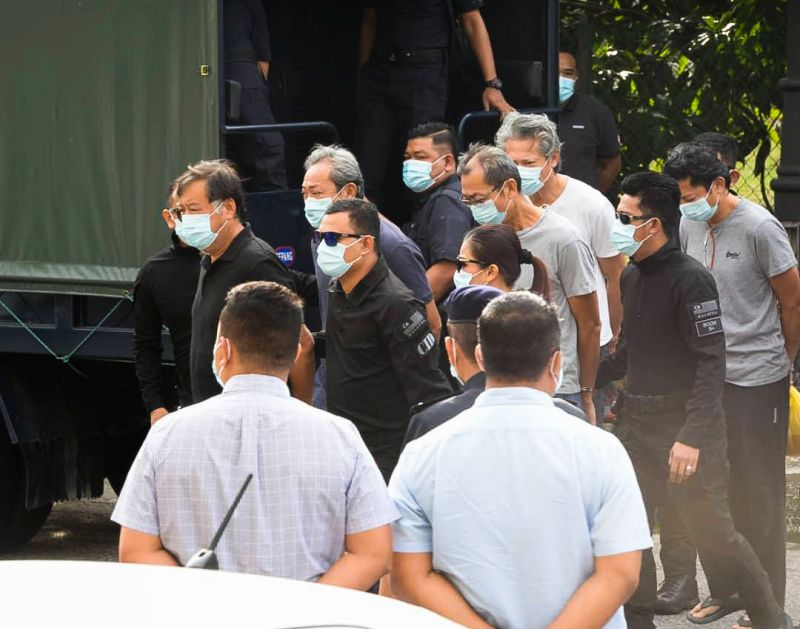 Four company directors and a workshop manager linked to the recent pollution of Sungai Gong arrive at the Selayang Magistrate's Court September 15, 2020.