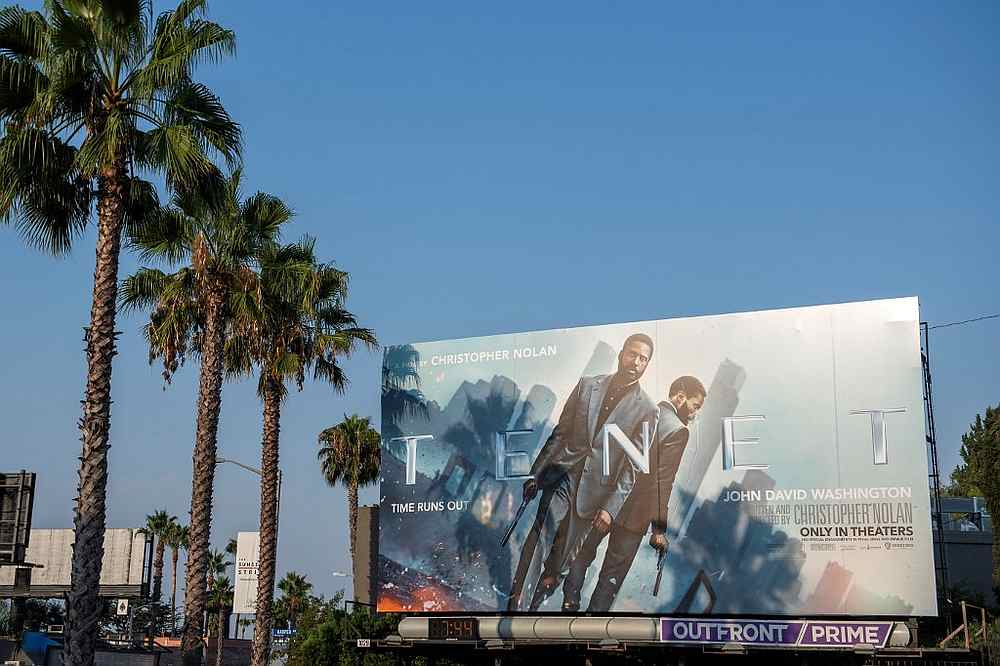A billboard for Christopher Nolan's film 'Tenet' on the Sunset Strip in West Hollywood, California August 19, 2020. — AFP pic