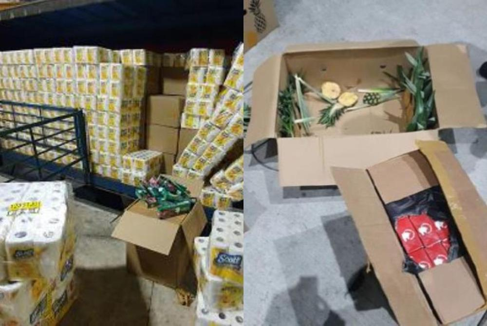 On September 28, 2020, the Singapore authorities seized 7,559 cartons of duty-unpaid cigarettes from two Malaysia-registered lorries at Tuas Checkpoint. — Immigration and Checkpoints Authority handout via TODAY