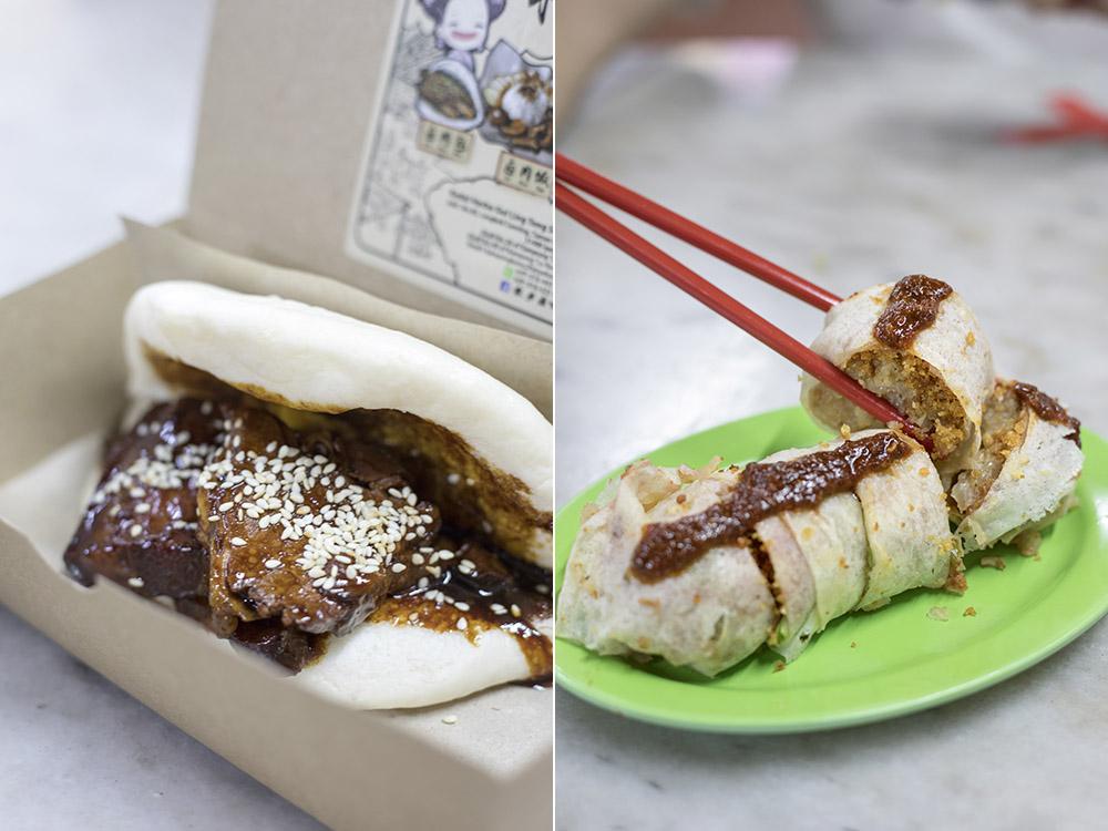 'Ru dong bo rou bao' (braised pork belly in a steamed bun) and Bibi's signature 'popiah'.