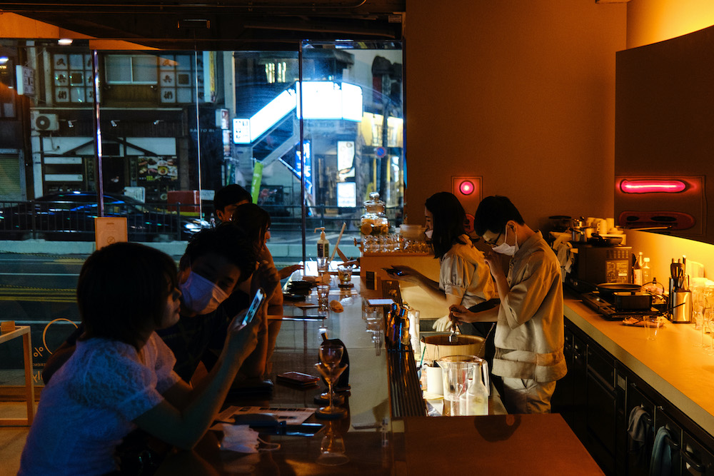 This picture taken on August 1, 2020 shows patrons in a non-alcoholic bar in Tokyo. – AFP pic