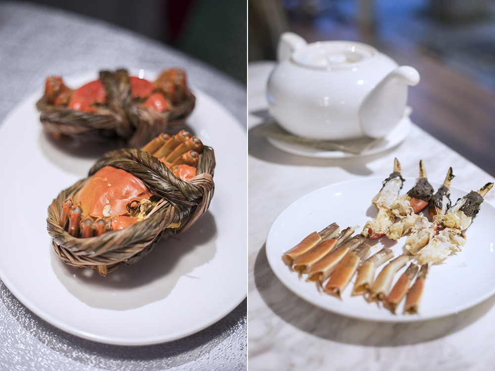 From start to finish: Whole hairy crabs to carefully laid out claws and legs.