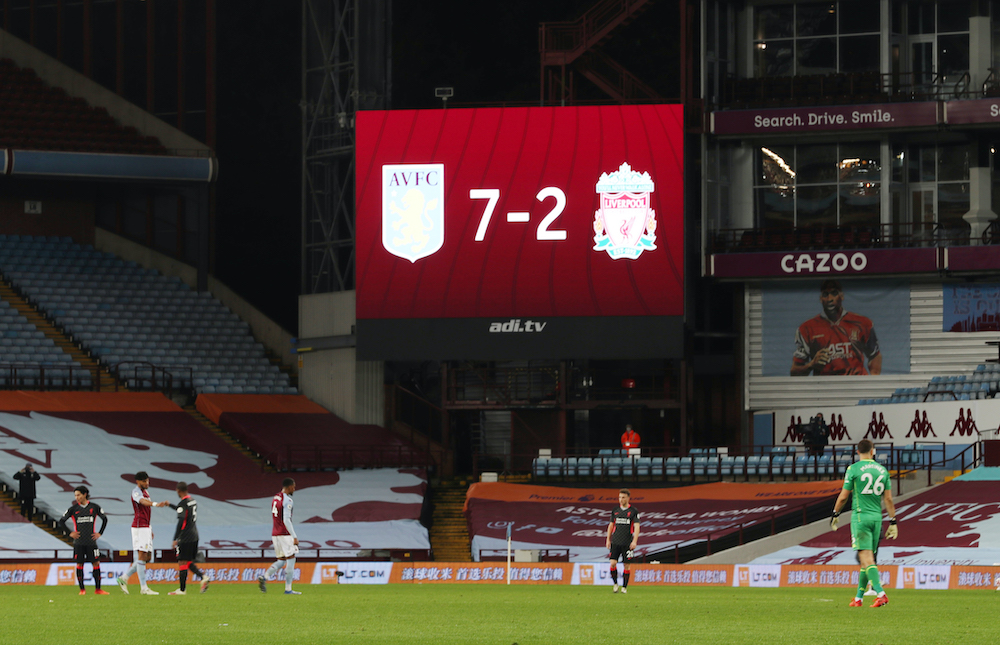 General view as the big screen displays the score after the match between Aston Villa and Liverpool, October 5, 2020. — Pool via Reuters/Catherine Ivill