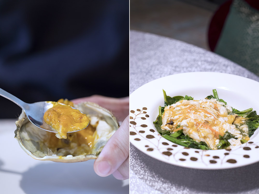 Luxurious hairy crab roe (left). Spinach with crabmeat and egg white (right).