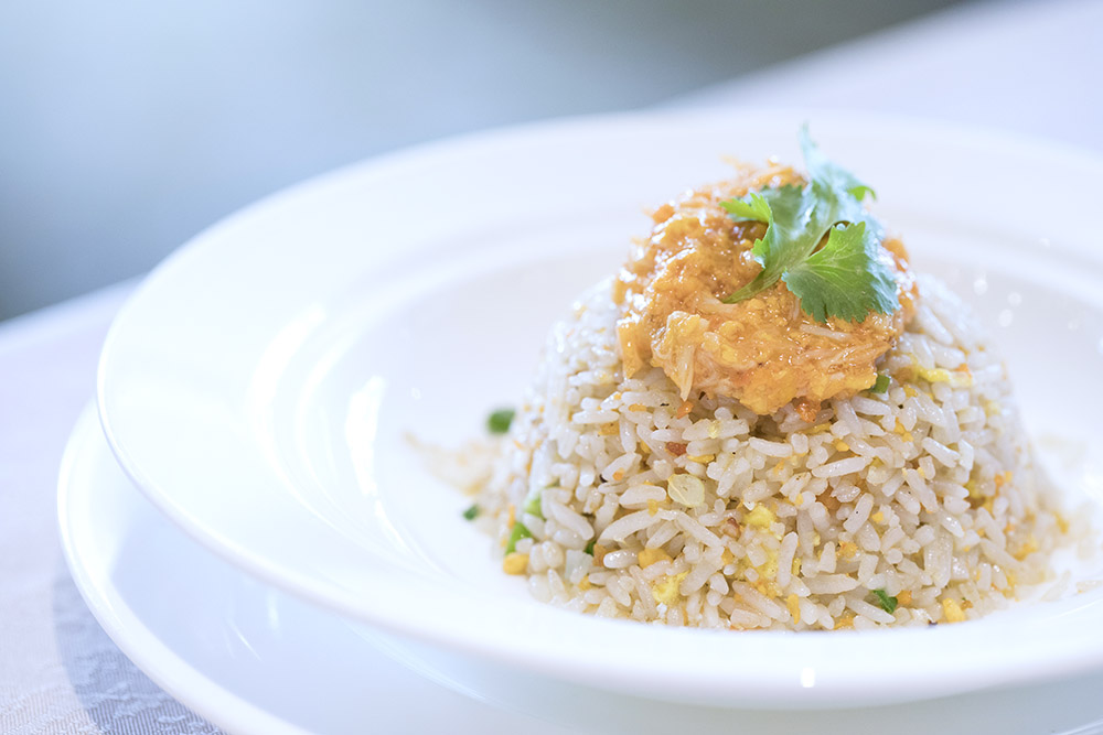 For less industrious diners: Fried rice topped with hairy crab roe and crabmeat.
