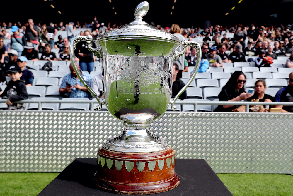 The Bledisloe Cup is seen before the second Bledisloe Cup rugby union match between New Zealand and Australia in Auckland October 18, 2020. — AFP pic