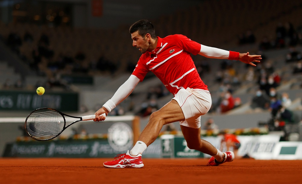 Novak Djokovic in action during his fourth round match against Karen Khachanov at the French Open in Paris October 5, 2020. — Reuters pic