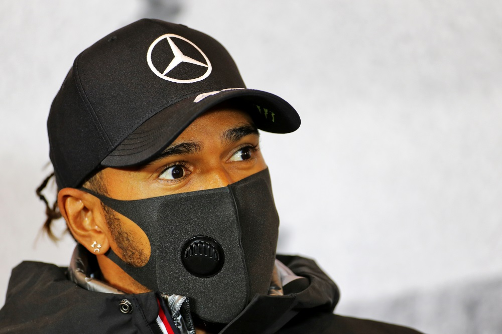 Mercedes' Lewis Hamilton wearing a protective face mask during a press conference ahead of the Eifel Grand Prix in Nurburg, Germany October 8, 2020. — FIA handout via Reuters
