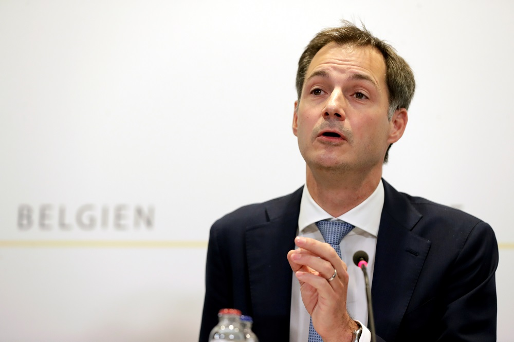 Belgium's Prime Minister Alexander De Croo holds a news conference after a government meeting to tighten restrictive measures as coronavirus disease infections soar and hospitals risk running out of beds, in Brussels October 16, 2020. — Pool pic via Reuters