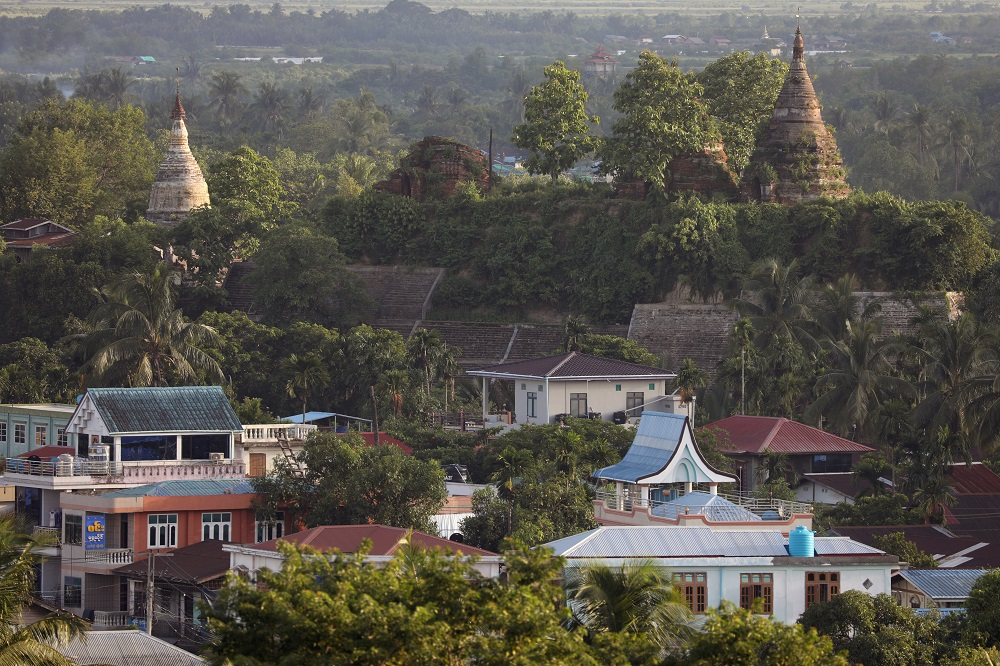 A landscape view of the downtown with ancient pagodas in the background in Mrauk U, Rakhine state, Myanmar June 28, 2019. — Reuters pic