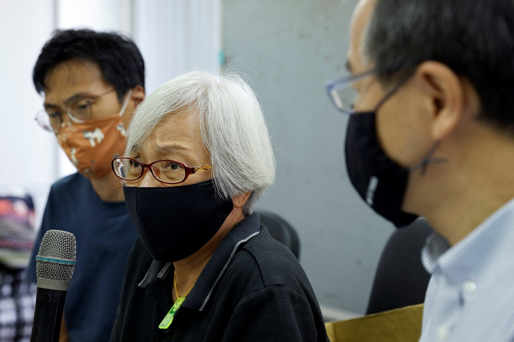 Alexandra Wong, 64, a pro-democracy activist, attends a news conference after Chinese authorities kept her in custody for a month and a half, across the border in Shenzhen, in Hong Kong October 17, 2020. — Reuters pic