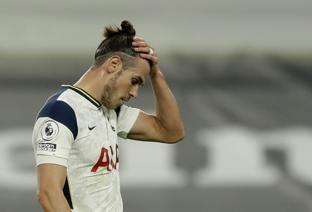 Tottenham Hotspur's Gareth Bale looks dejected after the match against West Ham United at the Tottenham Hotspur Stadium in London October 18, 2020. — Pool pic via Reuters