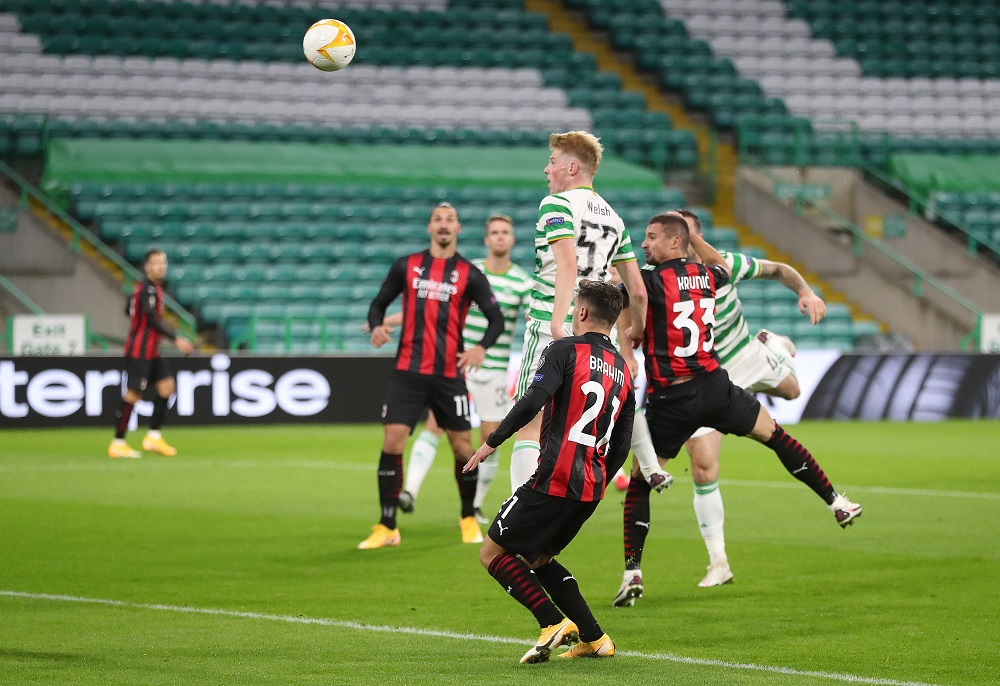 AC Milan's Rade Krunic scores their first goal against Celtic at Celtic Park in Glasgow October 22, 2020. — Reuters pic