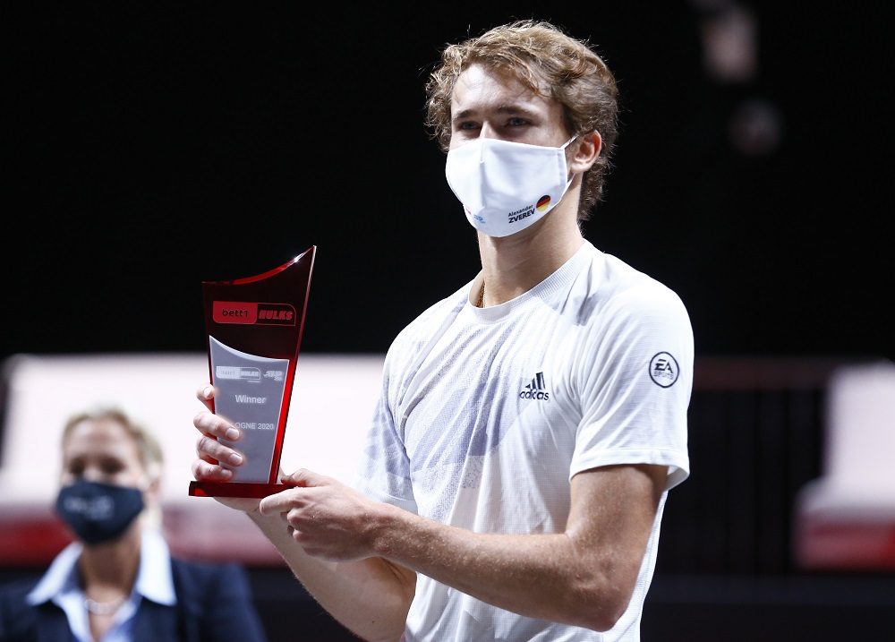 Germany's Alexander Zverev celebrates with the trophy after winning his final match against Argentina's Diego Sebastian Schwartzman at the Lanxess Arena Cologne