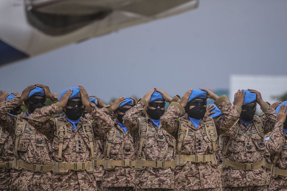 Members of the Malaysia MALBATT 850-8 battalion who will join the United Nations Interim Force (Unifil) in Lebanon are seen at the Subang air base, Shah Alam on October 1, 2020. — Picture by Hari Anggara