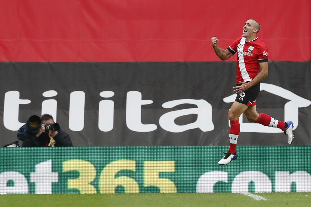 Southampton's Spanish midfielder Oriol Romeu celebrates scoring his team's second goal during a match between Southampton and West Bromwich Albion at St Mary's Stadium in Southampton, southern England on October 4, 2020. — AFP pic