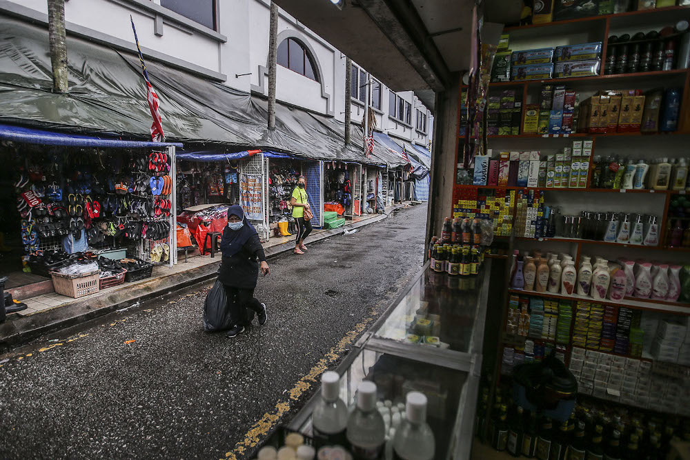 A general view of shops around Kuala Lumpur on the first day CMCO October 14, 2020. — Picture by Hari Anggara