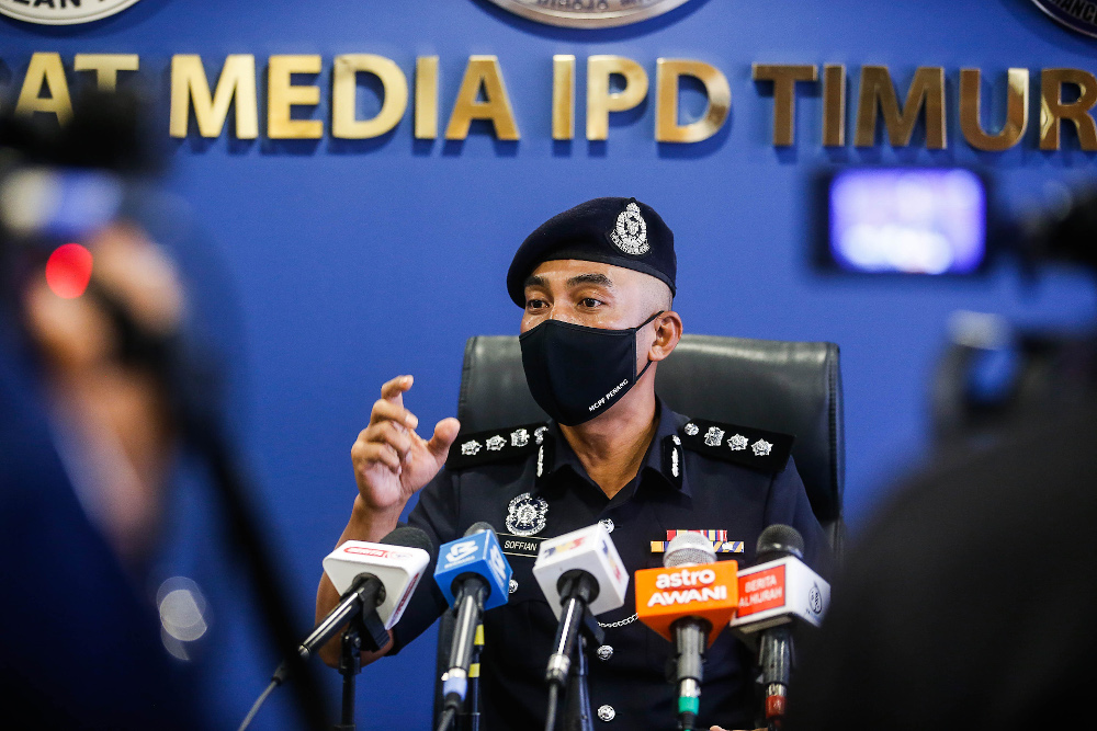North-east District Police Chief ACP Soffian Santong speaks to the press regarding the road closure due to enhanced movement control order (EMCO) in Penang October 14, 2020. — Picture by Sayuti Zainudin