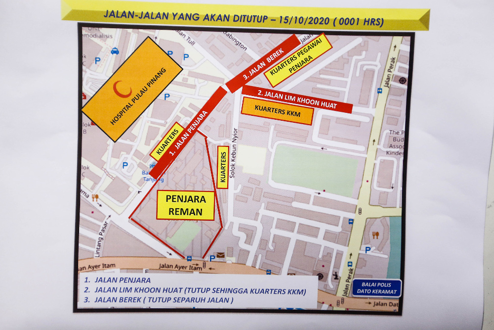 A map showing the location of road closures during the enhanced movement control order (EMCO) in Penang October 14, 2020. — Picture by Sayuti Zainudin