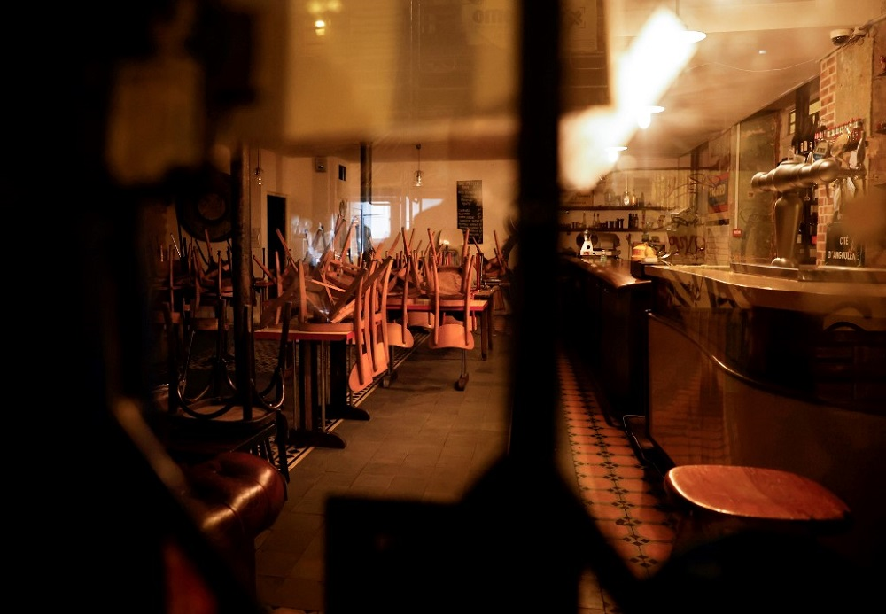 This file photo taken on October 6, 2020 in Paris shows the interior of a closed bar in Paris, on the implementation day of new sanitary measures aimed at curbing the spread of the Covid-19 outbreak in the French capital. — AFP pic