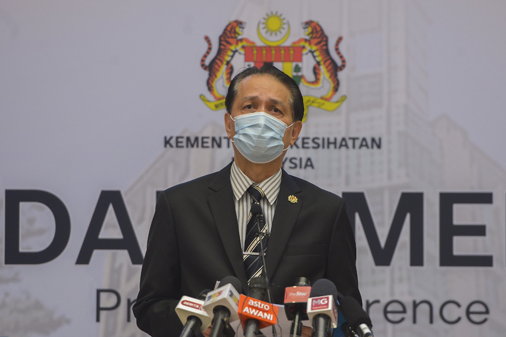 Health director-general Tan Sri Dr Noor Hisham Abdullah said that the sources of the new clusters are currently still under investigation. — Picture by Miera Zulyana