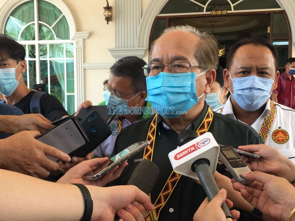 Uggah speaking to reporters in Bau October 24, 2020. — Borneo Post Online pic