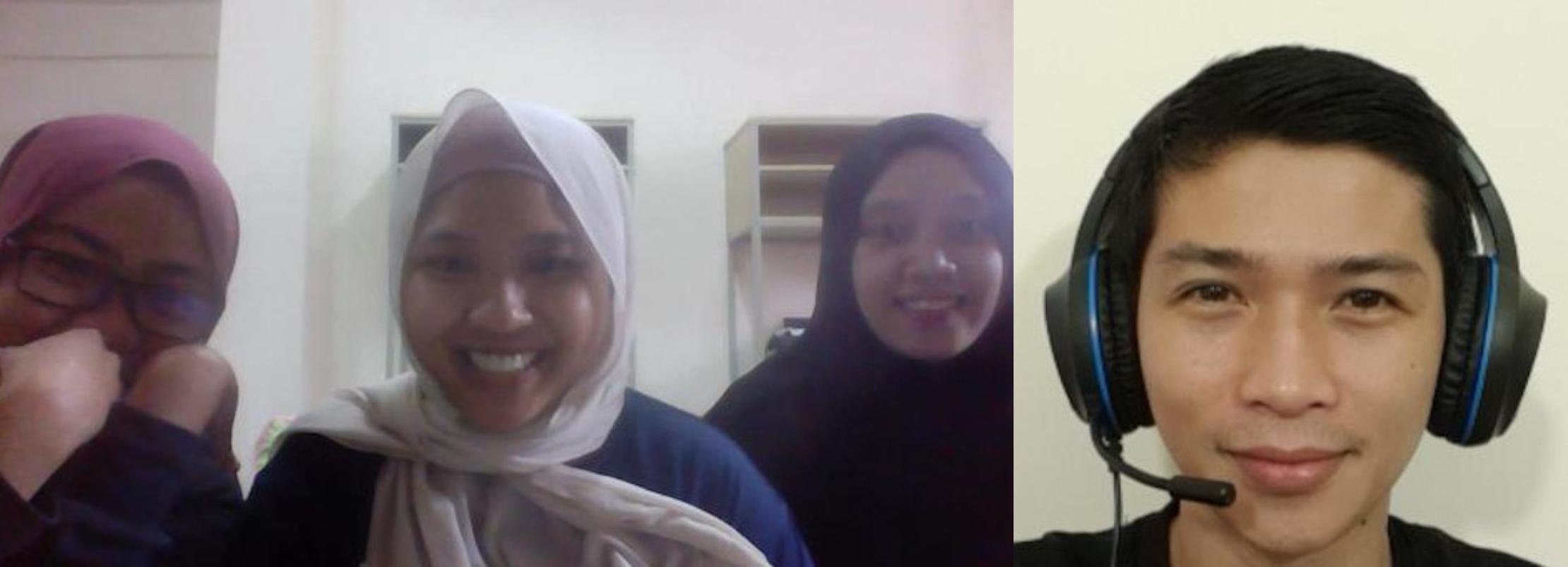 阿都卡立(下图)与学生进行线上撰写履历小组讨论。-Abdul Khaliq Putra提供-