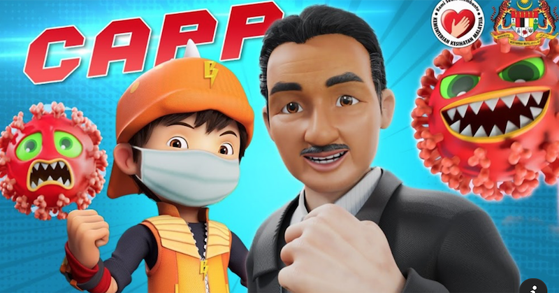Dr Noor Hisham gave BoBoiBoy and his friends some useful advice on breaking the chain of Covid-19 infections. — Screengrab from YouTube/Monsta