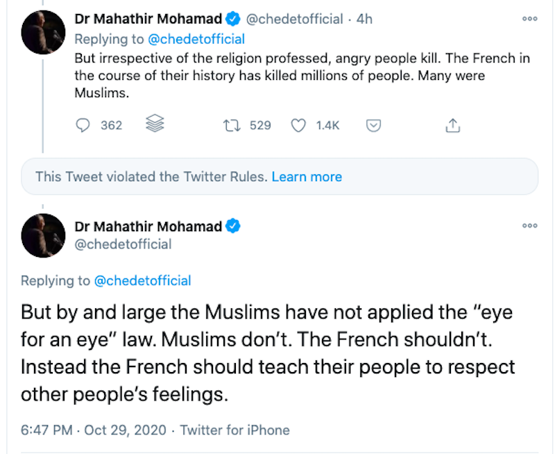 Screengrab from Tun Dr Mahathir Mohamad's Twitter account.