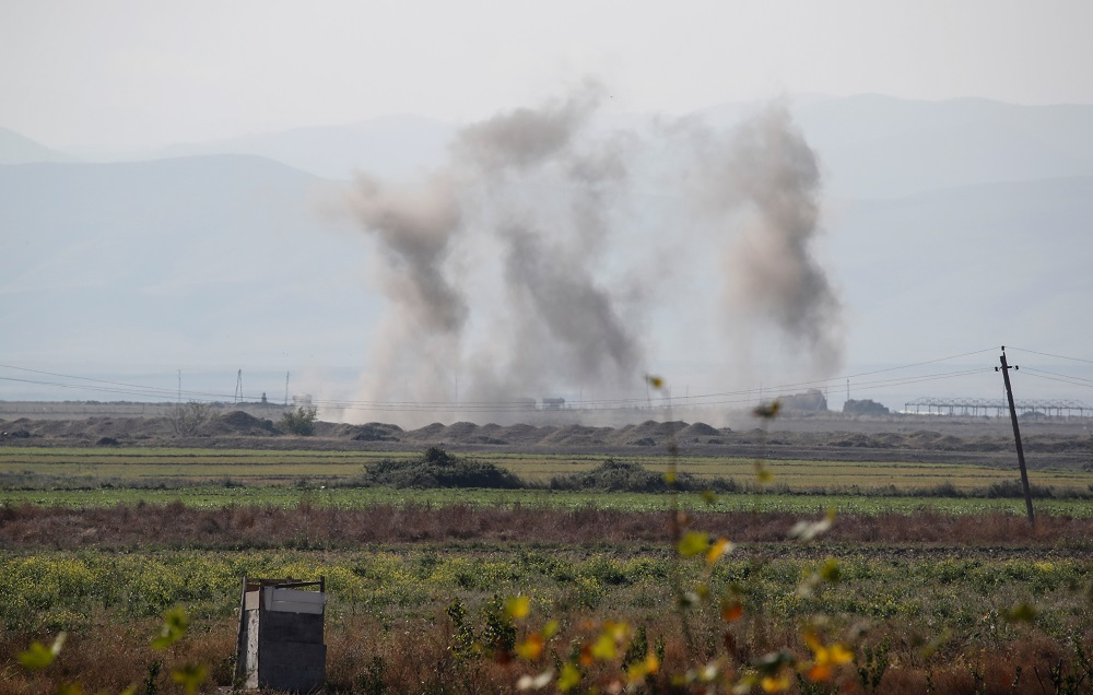 Smoke rises as targets are hit by shelling during the fighting over the breakaway region of Nagorno-Karabakh near the city of Terter, Azerbaijan October 23, 2020. ― Reuters pic