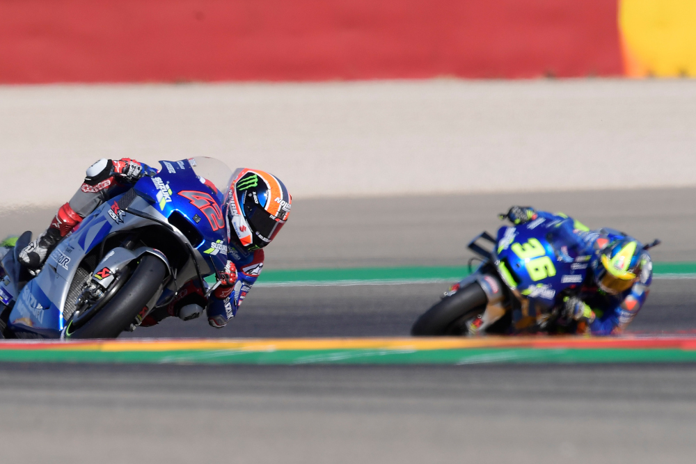 Suzuki Ecstar's Alex Rins rides ahead of Suzuki Ecstar's Joan Mir during the MotoGP race of the Moto Grand Prix of Aragon at the Motorland circuit in Alcaniz October 18, 2020. — AFP pic
