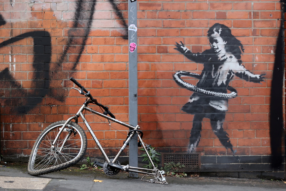 A new Banksy artwork is seen in Rothesay Avenue, Nottingham, Britain October 17, 2020. — Reuters pic