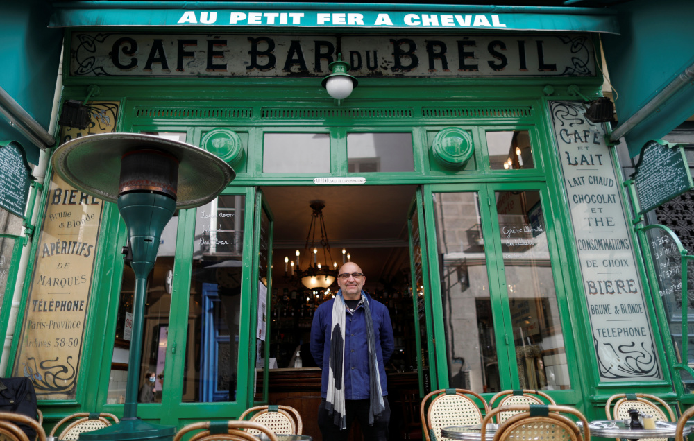Xavier Denamur, owner of 'Au Petit Fer a Cheval' restaurant and four other bars and restaurants in Le Marais district, poses during an interview with Reuters in Paris, France, October 19, 2020. — Reuters pic