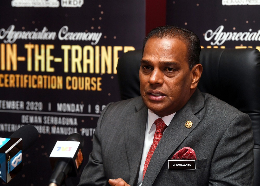 Human Resources Minister Datuk Seri M. Saravanan at a press conference in Putrajaya October 28, 2020. -- Bernama pic