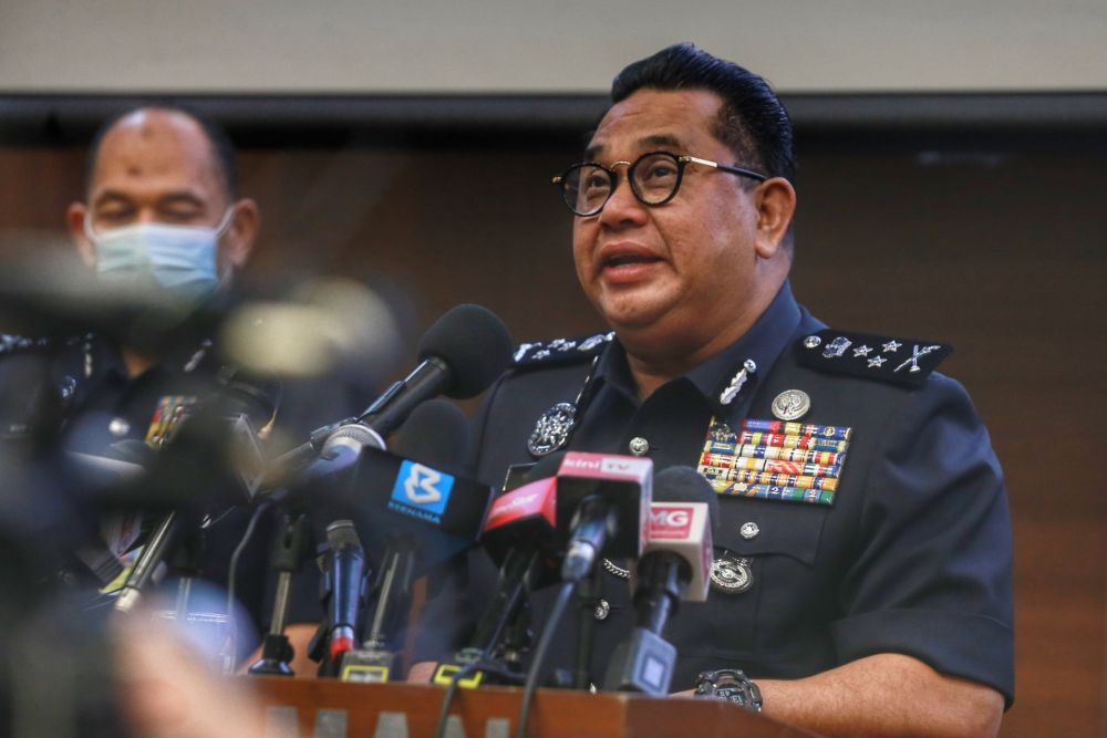 Bukit Aman Criminal Investigation Department (CID) director Datuk Huzir Mohamed speaks during a press conference in Kuala Lumpur October 21, 2020. — Picture by Ahmad Zamzahuri