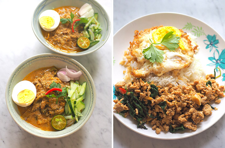 Slurp down the Siam 'laksa' with the creamy gravy made with canned sardines (left). The Thai stir fried chicken with basil is a comforting dish that you can't stop eating together with the fried egg and rice (right)