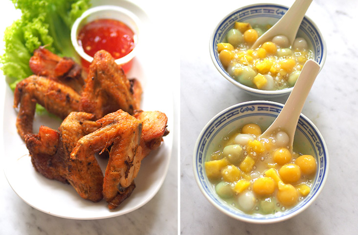 On its own, the Thai deep fried chicken wings had a mild flavour with the marinade (left). Similar to 'bubur cha cha', the 'bua loy' dessert was a joy to eat with chewy glutinous rice balls paired with sweet potatoes, sago pearls and thick coconut milk (right)
