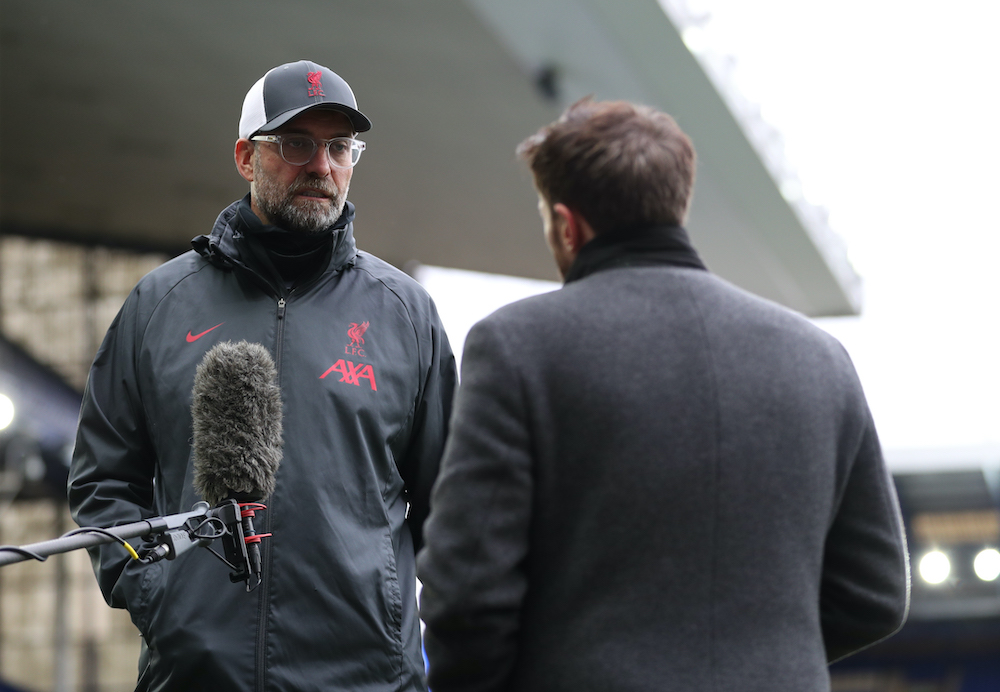 Liverpool manager Juergen Klopp speaks to the media after the match against Everton at Goodison Park in Liverpool, October 17, 2020. ― Reuters pic