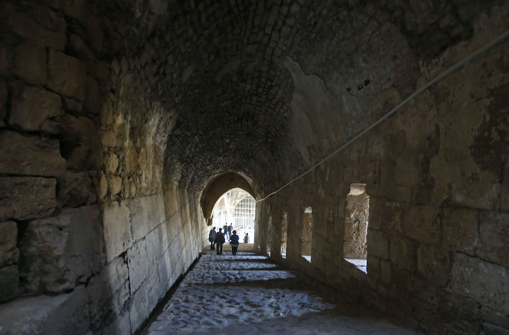 This picture taken on October 20, 2020 shows a view of a passageway inside the medieval Crusader fortress Krak des Chevaliers, west of Syria's central city of Homs and close to the border with Lebanon. ― AFP pic