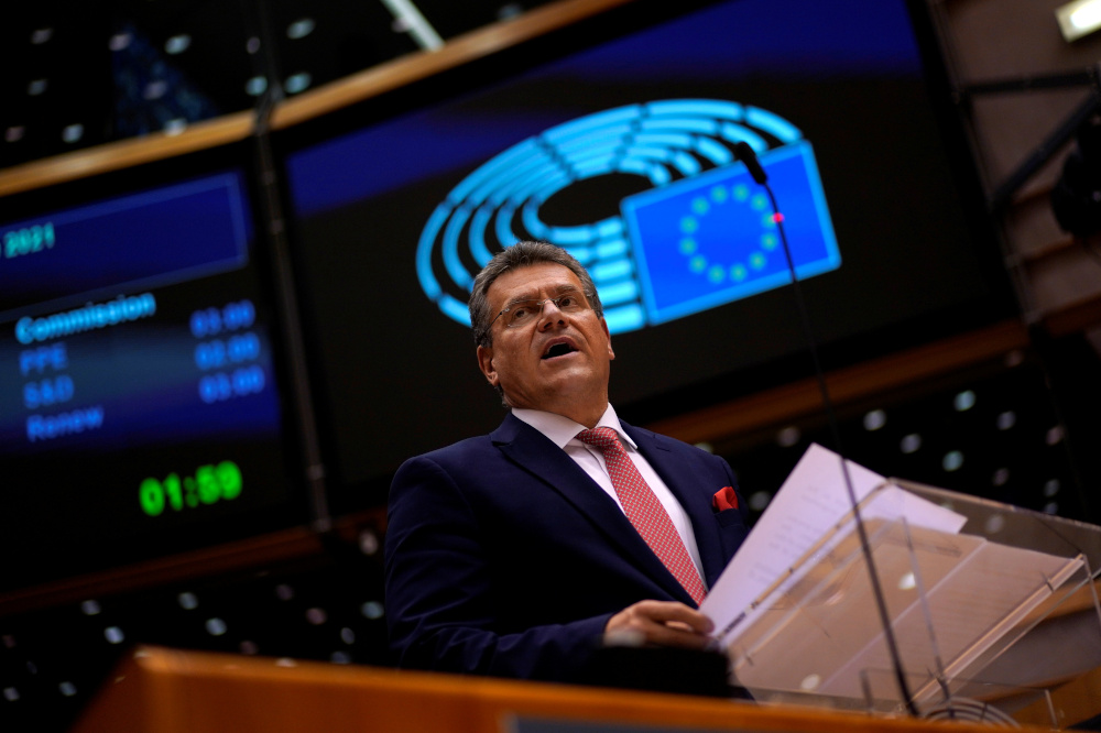 European Commissioner for Inter-institutional Relations and Foresight Maros Sefcovic addresses lawmakers during a plenary session of Work Programme 2021 at the European Parliament in Brussels October 20, 2020. — Reuters pic
