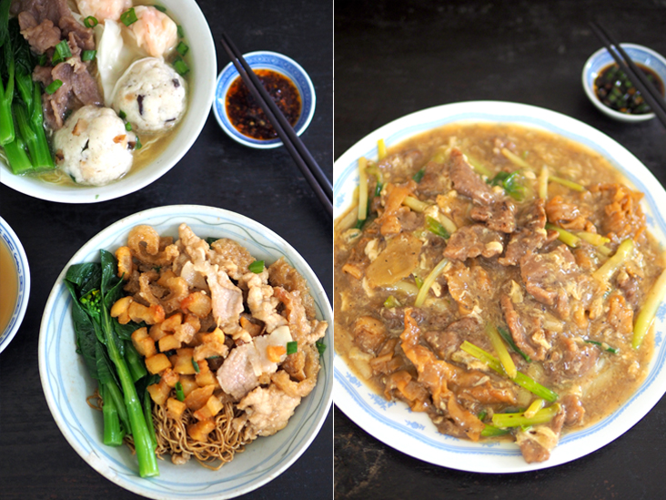 Pig out with their extremely laden pork lard noodles that is served with a generous portion of lard fritters, sliced pork loin and pork belly with pig skin (left). They offer a variety of fried noodles such as this classic spring onion beef ginger 'kway teow' which came with a generous portion of tender beef slices (right).