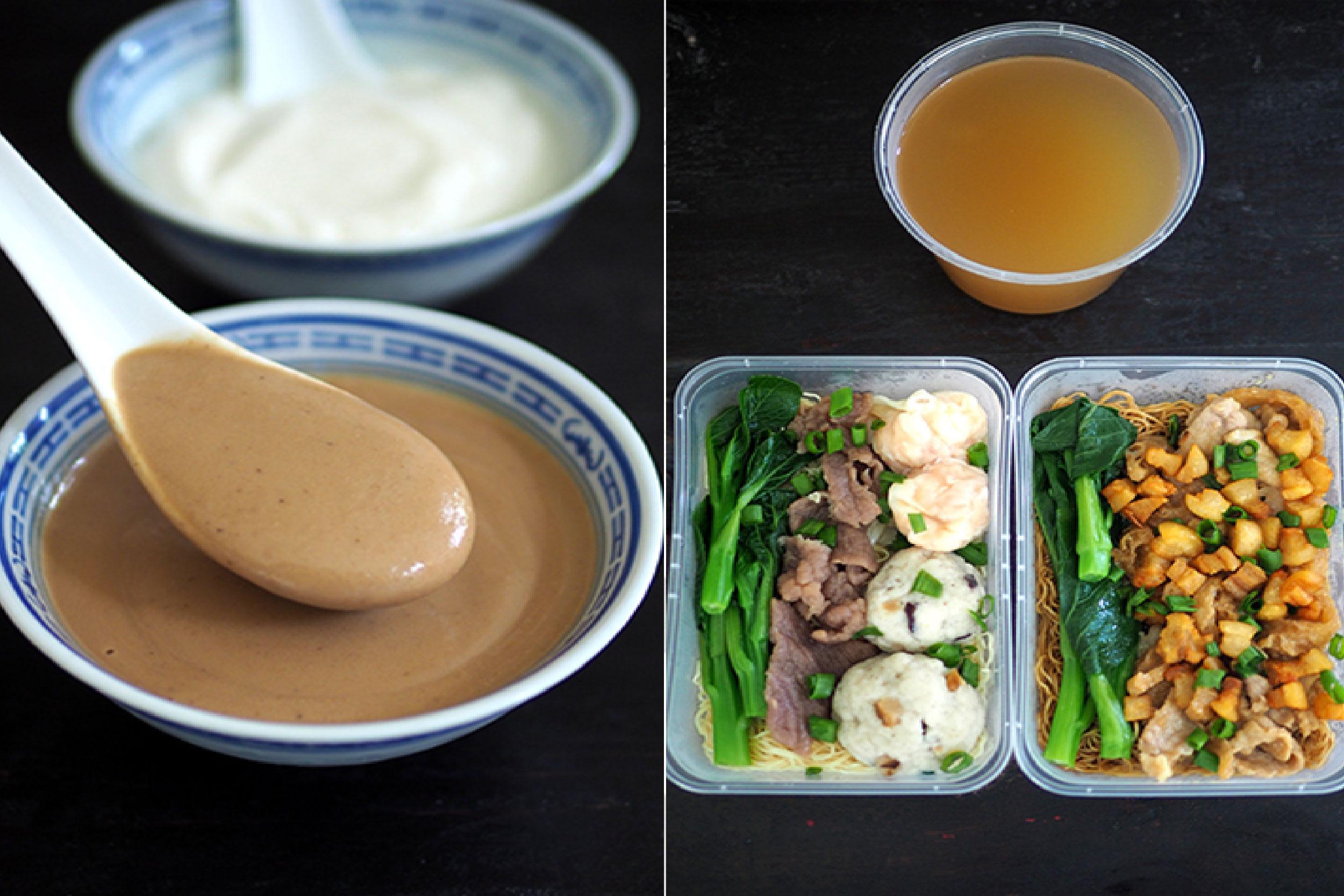 你可以在这里点核桃糊(左图);店家会将汤和面分开(右图)。-Lee Khang Yi摄-