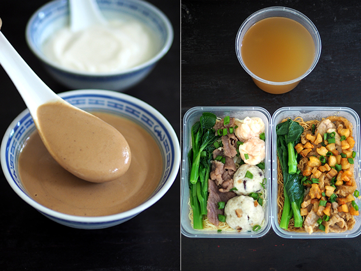 You can also order 'tong sui' like this walnut dessert (front) or almond dessert (back) (left). Everything is packed neatly in boxes and the soup noodles are separated from the liquid (right)