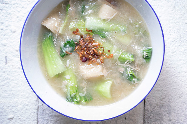'Soul soup' – made with mushrooms, 'siu bak choy' and fried shallots. – Pictures by CK Lim
