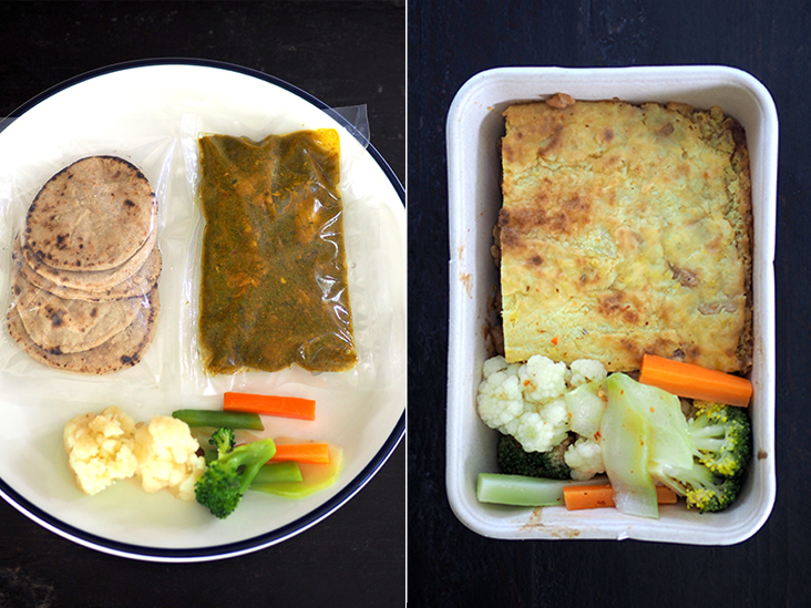 The green chili chicken is packed in separate bags to ensure the items can be easily heated up (left).The unusual tempeh shepherd's pie was absolutely delicious with its interesting combination of tempeh, chickpeas and yam bean (right).