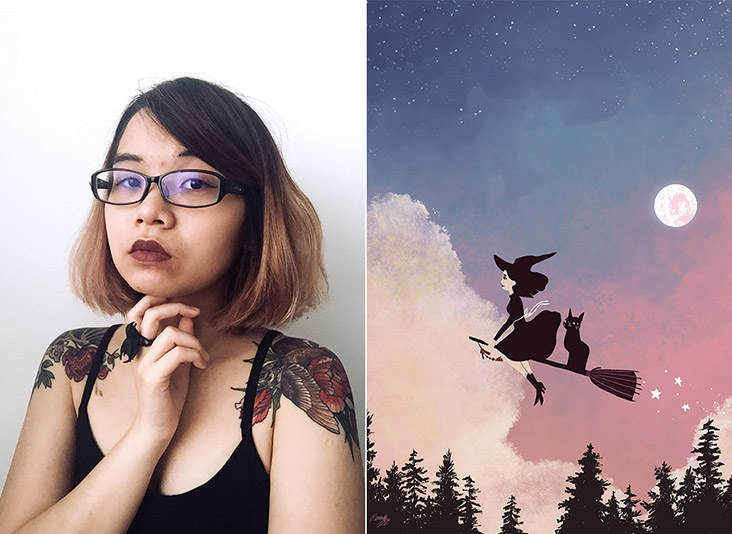 Malaysian illustrator, writer and designer Reimena Yee (left). One of Yee's whimsical illustrations (right)