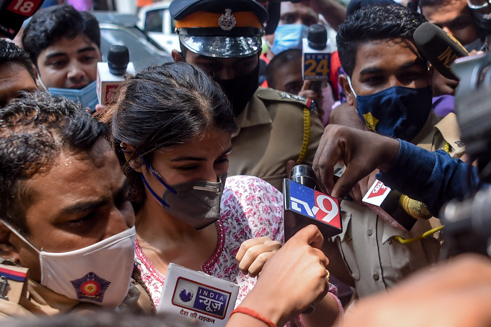 In this file photo taken September 6, 2020 Bollywood actress Rhea Chakraborty arrives at the Narcotics Control Bureau (NCB) office in Mumbai. — AFP pic