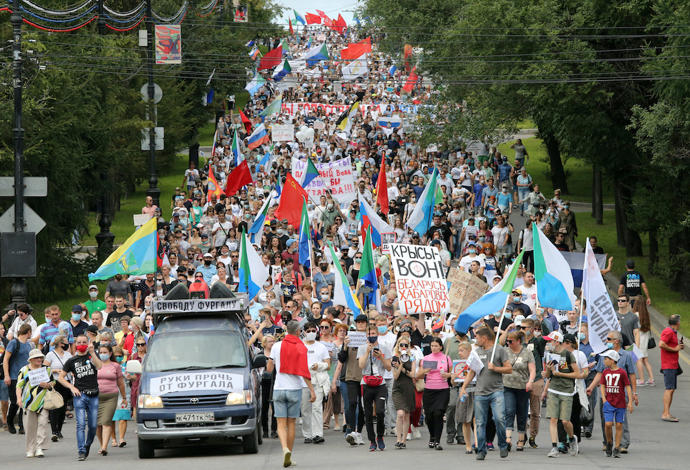 File photo of people taking part in an anti-Kremlin rally in support of former regional governor Sergei Furgal arrested on murder charges in the far eastern city of Khabarovsk, Russia August 22, 2020. ― Reuters pic