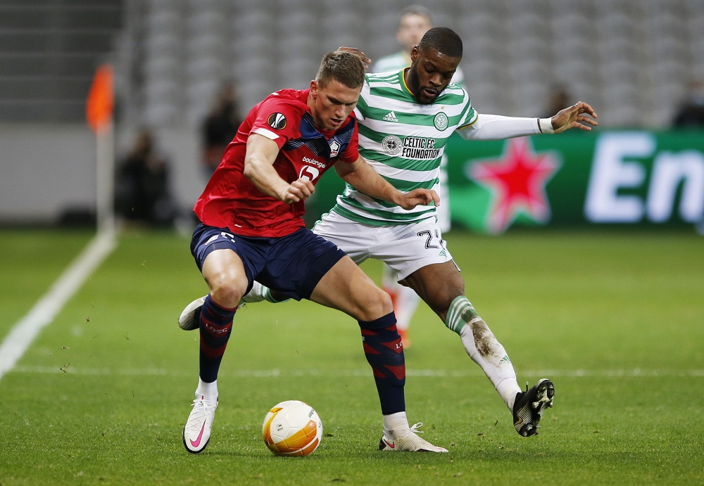 Lille's Sven Botman in action with Celtic's Olivier Ntcham during the Europa League match in Lille, France October 30, 2020. ― Reuters pic