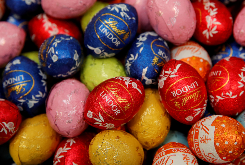 Lindor chocolate eggs of Swiss chocolatier Lindt & Spruengli are displayed during the annual news conference in Kilchberg, Switzerland March 3, 2020. — Reuters
